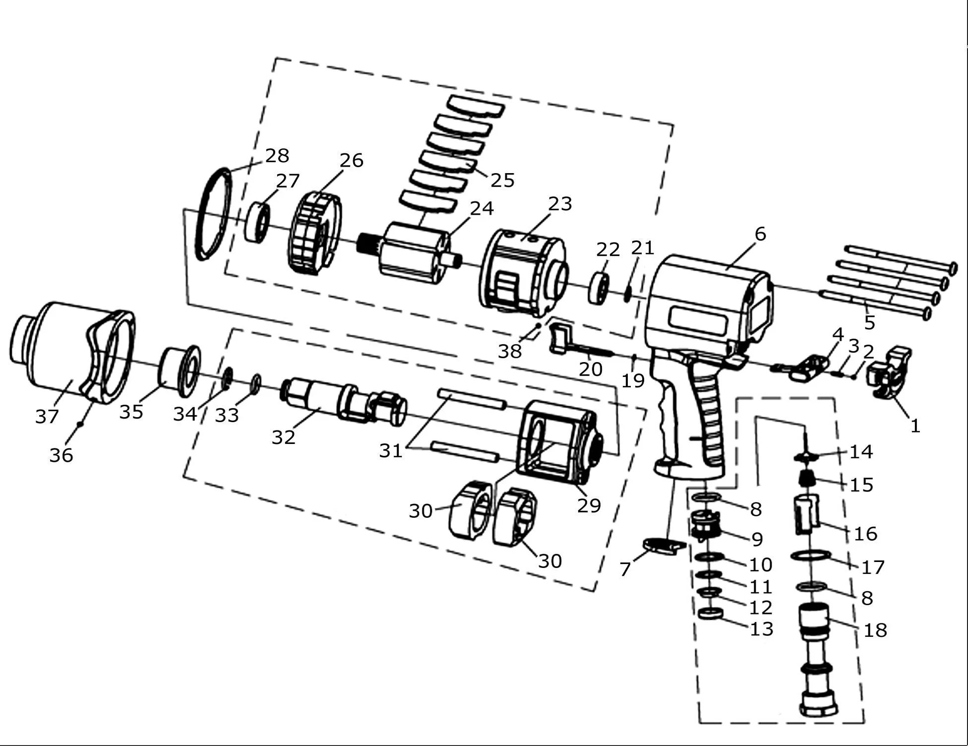Inside Air Impact Driver Diagram