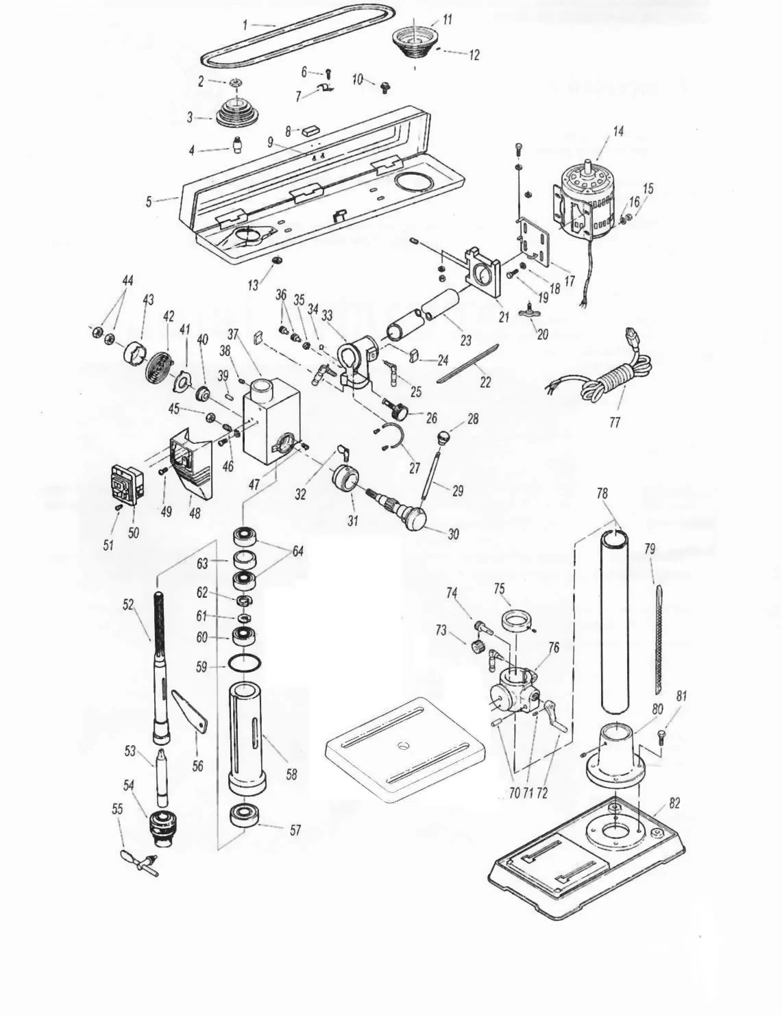Sip Bench Radial Pillar Drill Diagram
