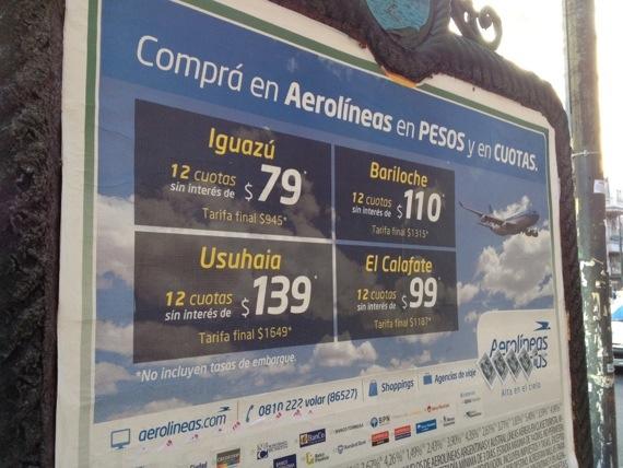 aviso de Aerolineas Argentinas