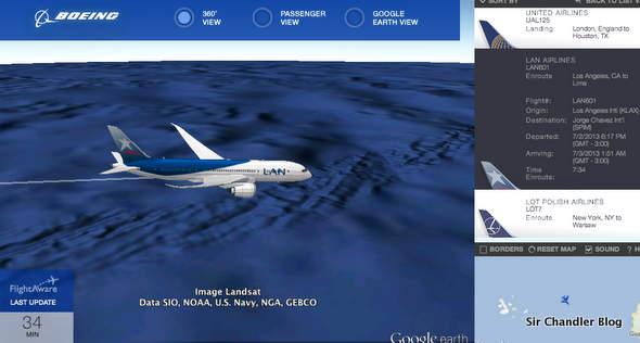 ¿Donde están los Boeing 787 en estos momentos? ¡Que buena pregunta Google!