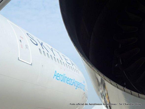 Llegó el Airbus 340 de Aerolíneas con los colores de Skyteam