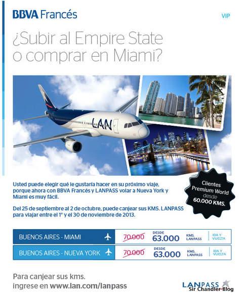 Promoción de Km LANPASS a Miami y Nueva York para clientes del Francés