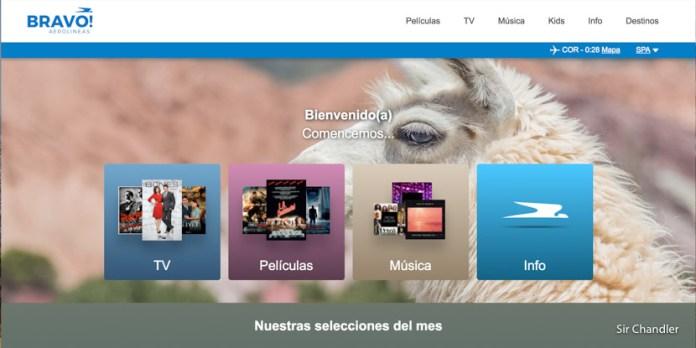 El sistema Bravo! de entretenimiento vía wifi de Aerolíneas Argentinas
