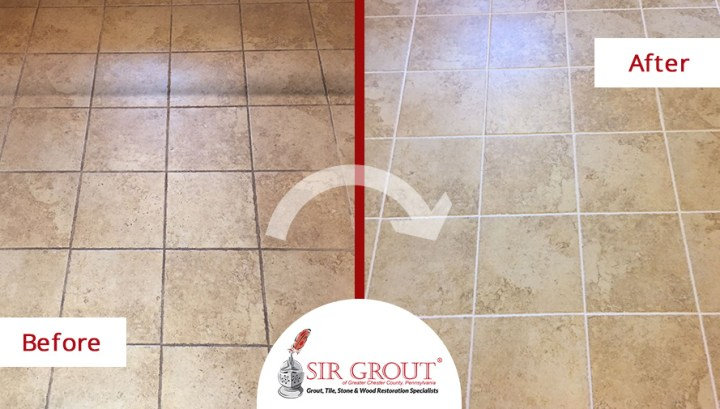 Record Time Service  Look What Our Tile and Grout Cleaners in King     Before and After Picture of a Floor Tile and Grout Cleaners in King of  Prussia