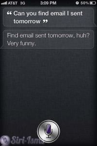 Can You Find The E-mail I Sent Tomorrow? Siri Says
