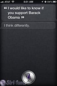 Do You Support Barrack Obama? Siri Says No