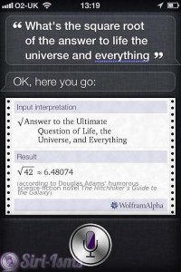 What Is The Square Root Of The Answer to Life, The Universe and Everything i Siri