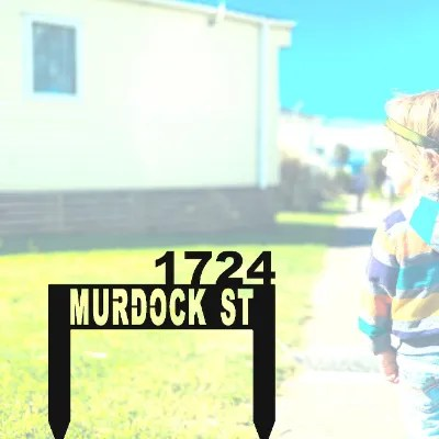 address sign stake black in yard