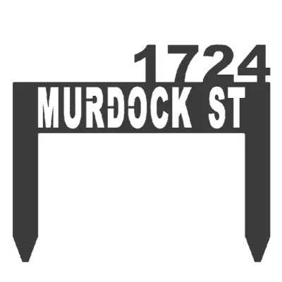address sign stake black example