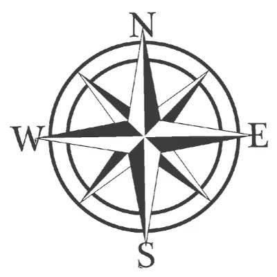 compass rose sign black