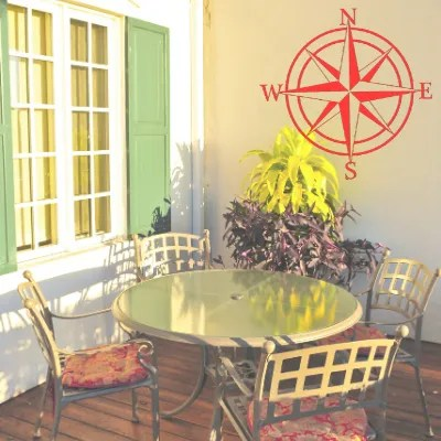 compass rose sign on patio