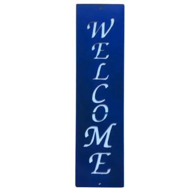 metal sign welcome-blue-white