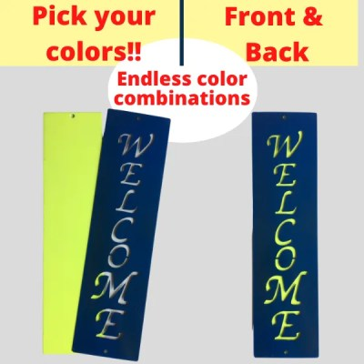 metal sign welcome combo colors