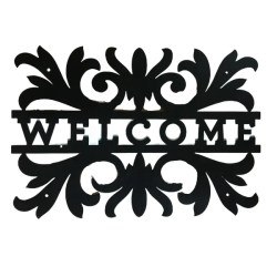 metal welcome scroll sign