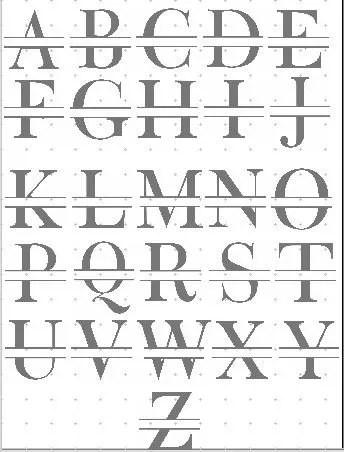 monogram split letter bold alphabet