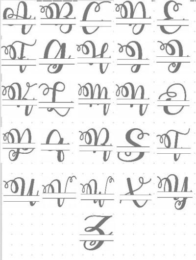 monogram split letter fancy script alphabet