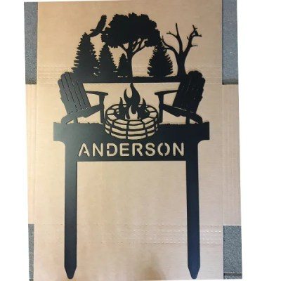 campfire sign with stakes shipping