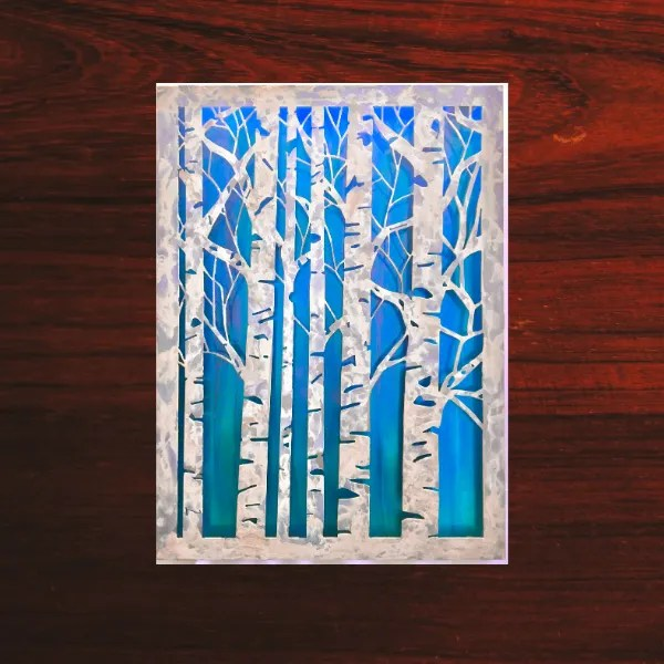 wall art birch trees