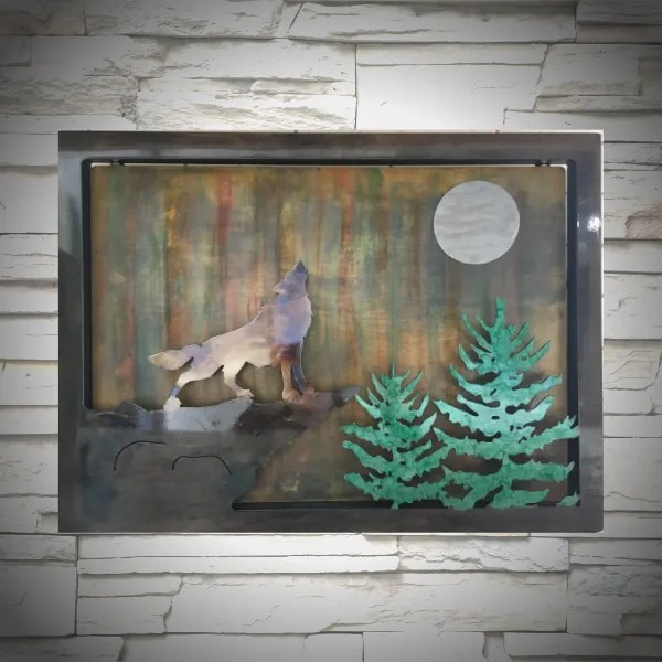 wall art wolf northern lights wall