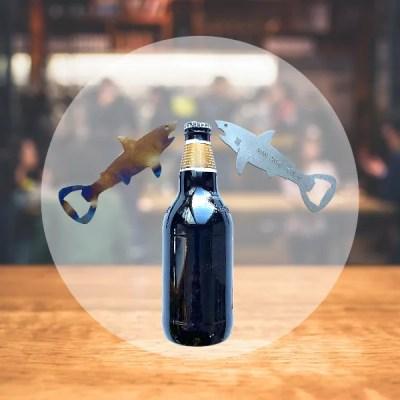 shark bottle opener steel and patina