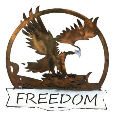 freedom eagle metal wall art white text area