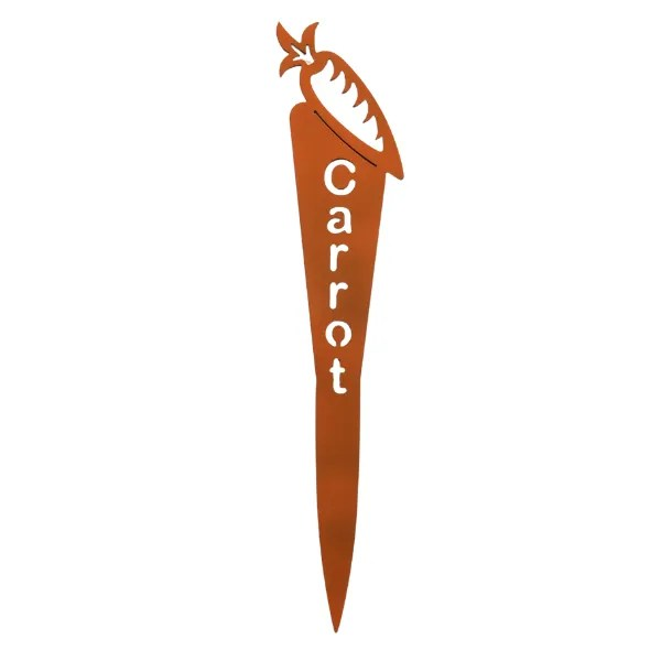 metal garden plant marker with powder coat-steel, orange color with carrot image