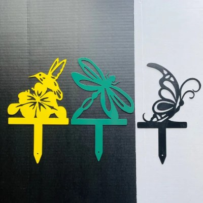 garden animal stakes hummingbird dragonfly butterfly