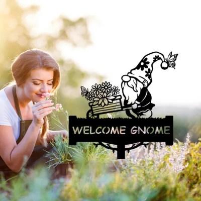 metal welcome garden gnome stake