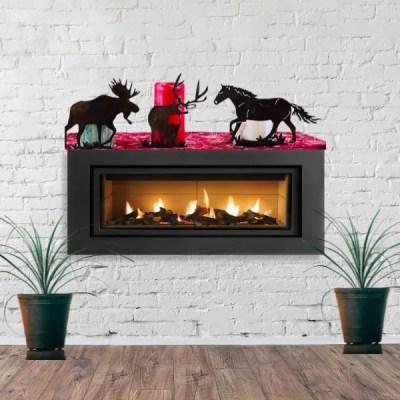 candle holder horse moose deer fireplace