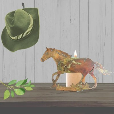candle holder horse patina table