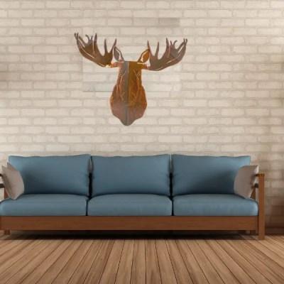 moose head patina room cabin decor