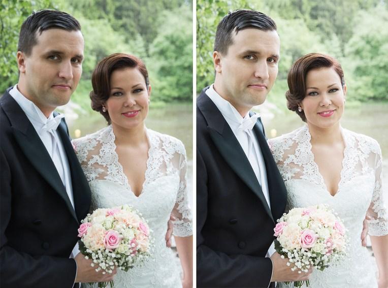 Hääpotretti vehreällä joella, ennen ja jälkeen kuvankäsittelyn.