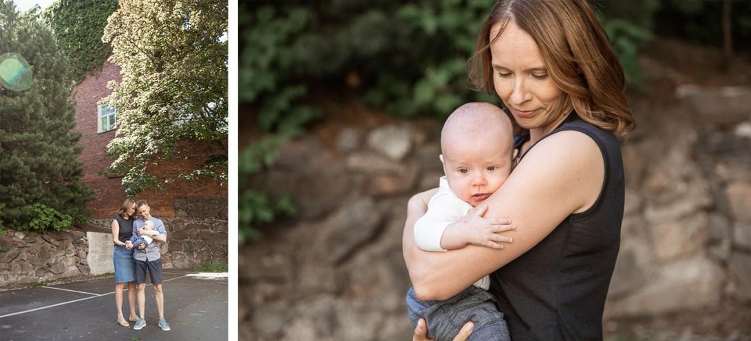 Vehreä kaupunkimaisema, vauvakuvaus perheen kanssa