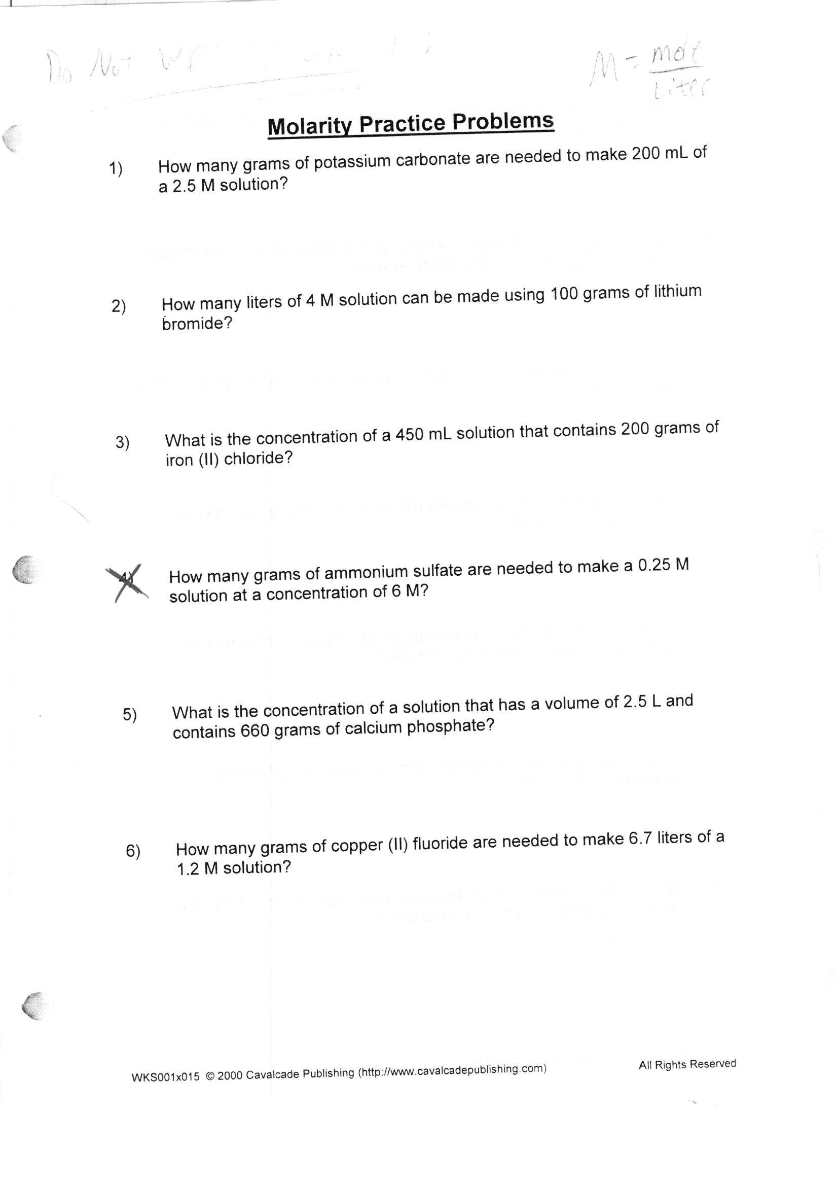 Molarity Worksheet Answer Key