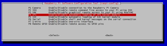 raspi-config interfaces spi habilitado