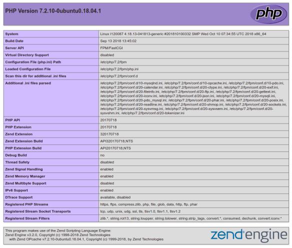 Imagen del primer scroll de la información expuesta por la función phpinfo e nuestro servidor web.