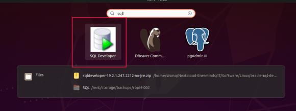 """Captura de pantalla de lanzador creado del """"Oracle SQL Developer""""."""
