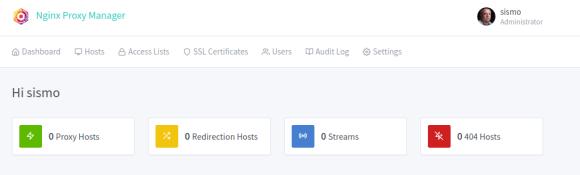 Captura de pantalla del dashboard del Nginx Proxy Manager.