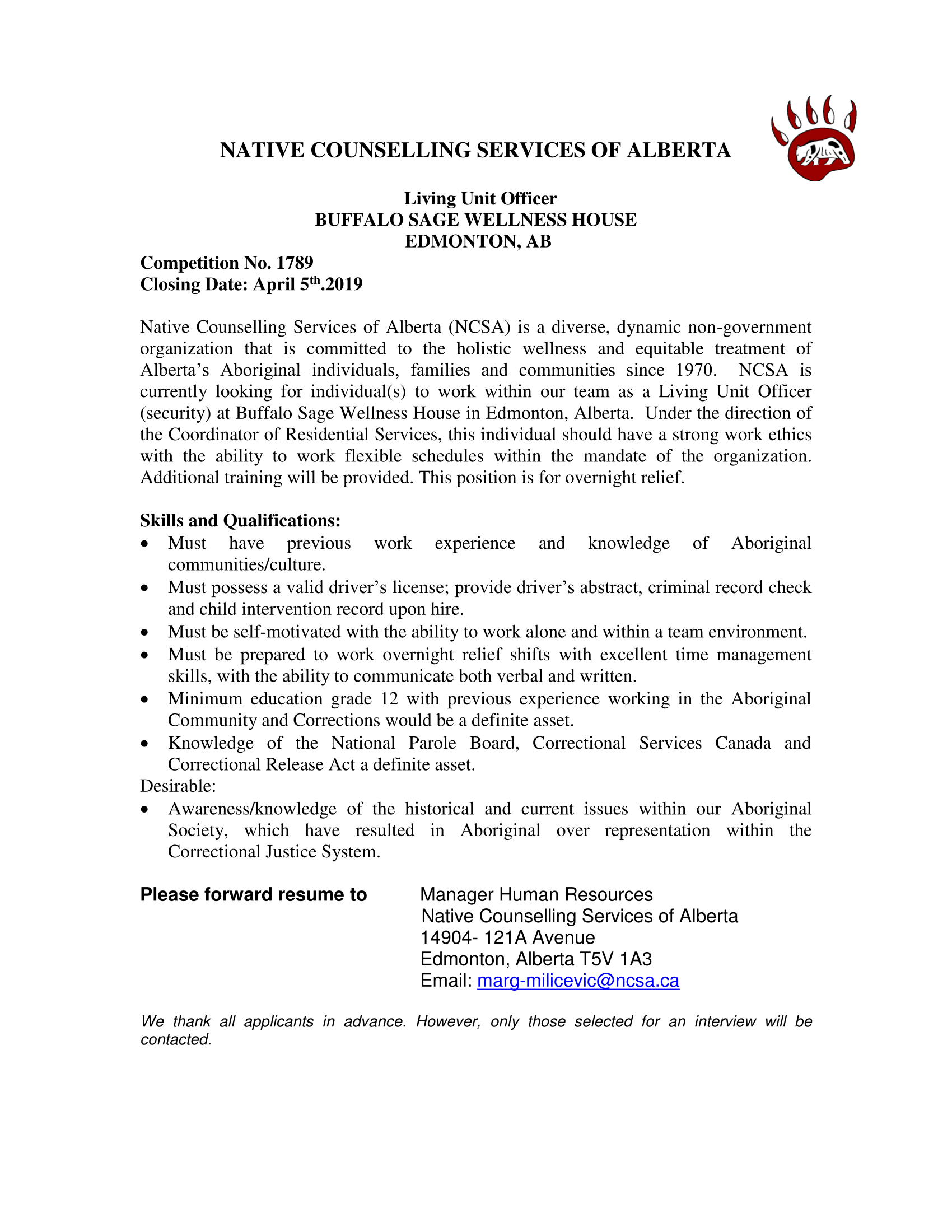NATIVE COUNSELLING SERVICES OF ALBERTA