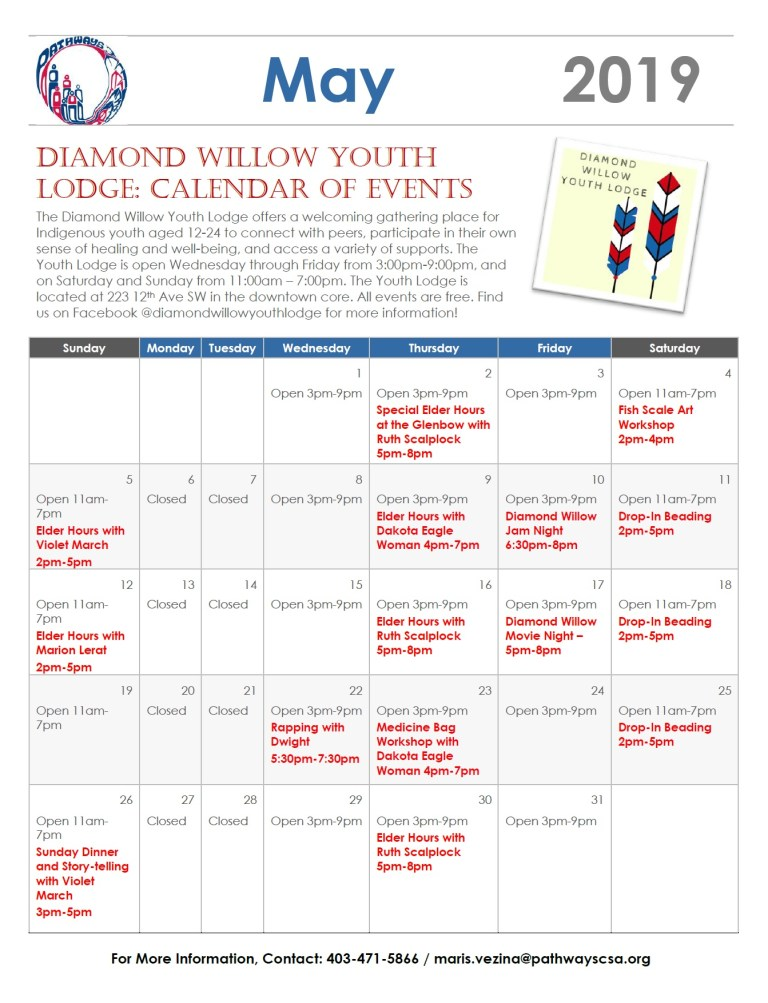 Diamond Willow Youth Lodge presents May Calendar of Events