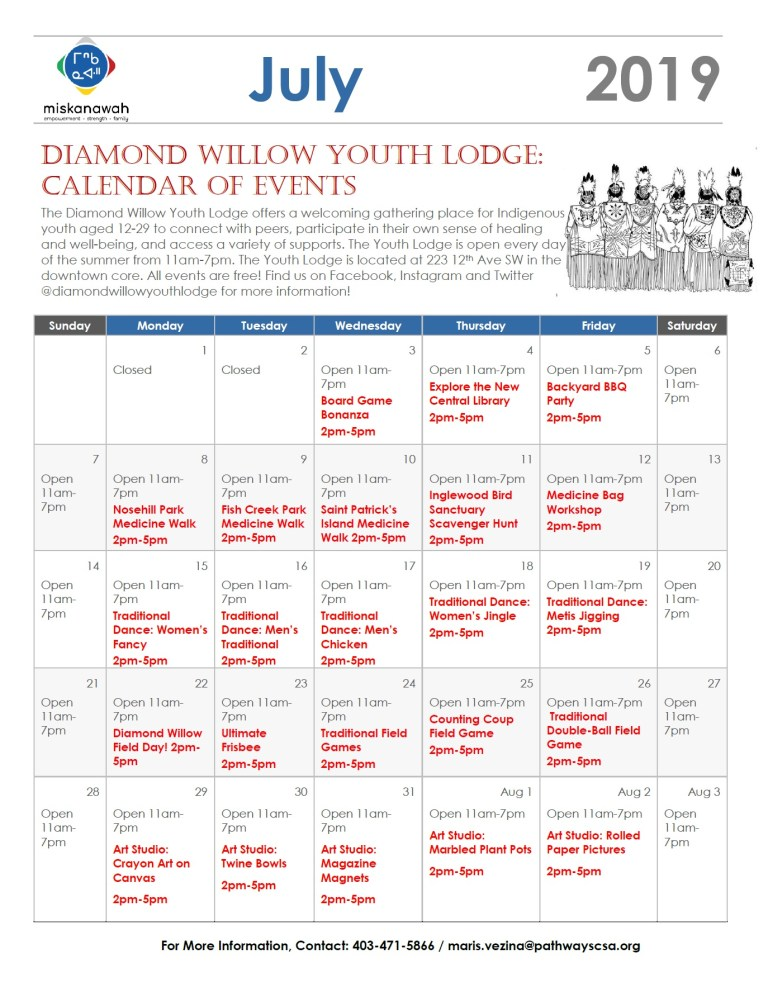 Diamond Willow Youth Lodge, July 2019 Calendar of Events
