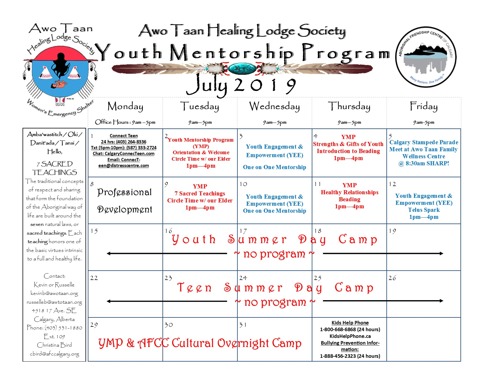Awo Taan Healing Lodge Society, Youth Mentorship Program – Calendar of Events July 2019