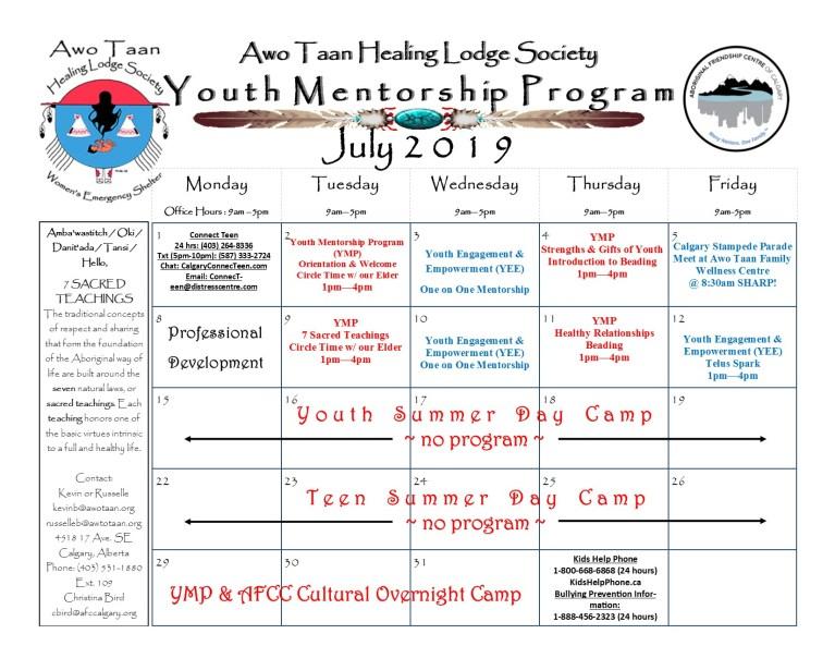 Awo Taan Healing Lodge Society, Youth Mentorship Program – Calendar of Events July 2019