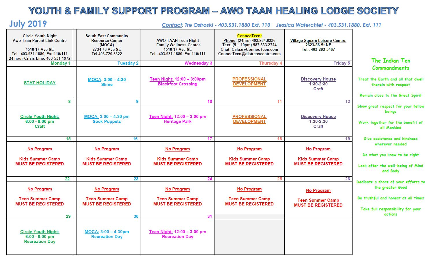 Awo Taan Healing Lodge Society, Youth & Family Support Program Calendar of Events July 2019