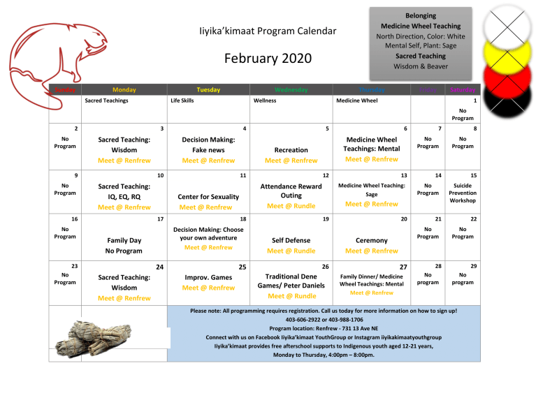 Iiyika'kimaat Program Calendar – February 2020
