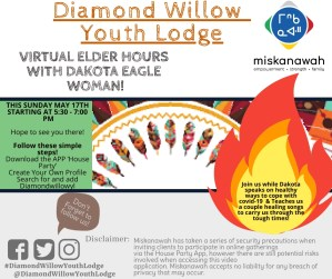 Virtual Elder Hours with Dakota Eagle Woman! @ Diamond Willow Youth Lodge - Zoom Meeting