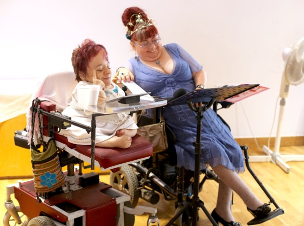 Sophie partridge and Penny Pepper, both wheelchair users reading their poetry