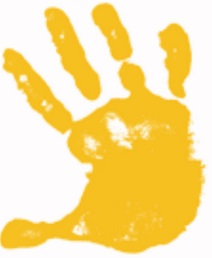 print of hand in yellow