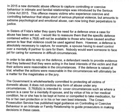 screenshot of the main paragragh of the response