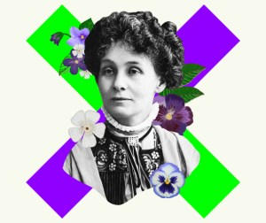 headshot of a woman (suffragette) with a cross behind in green and pruple colours